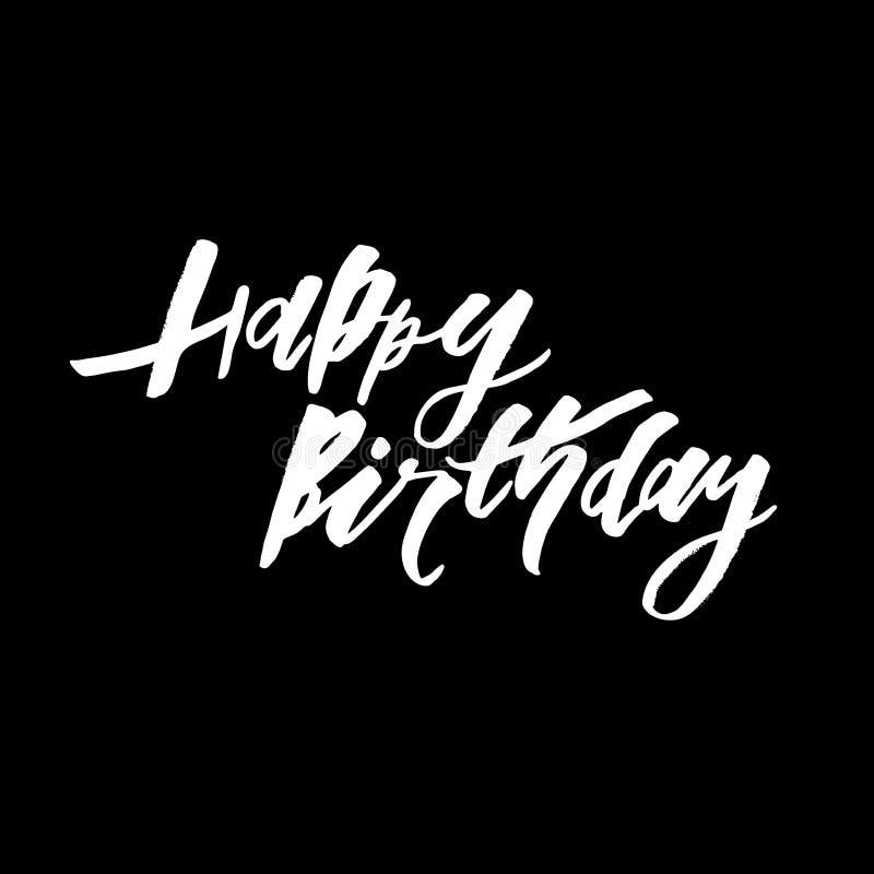 Gelukkig Verjaardagstekst het van letters voorzien kalligrafie zwart wit royalty-vrije stock foto
