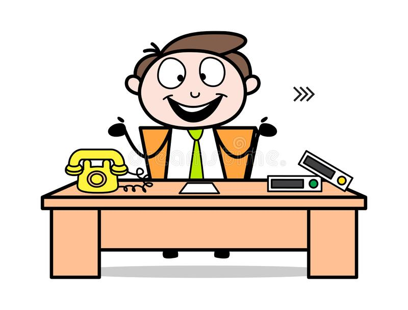 Gelukkig voelen na sluit zich aan bij de Baan - de Illustratie van Employee Cartoon Vector van de Bureauzakenman vector illustratie