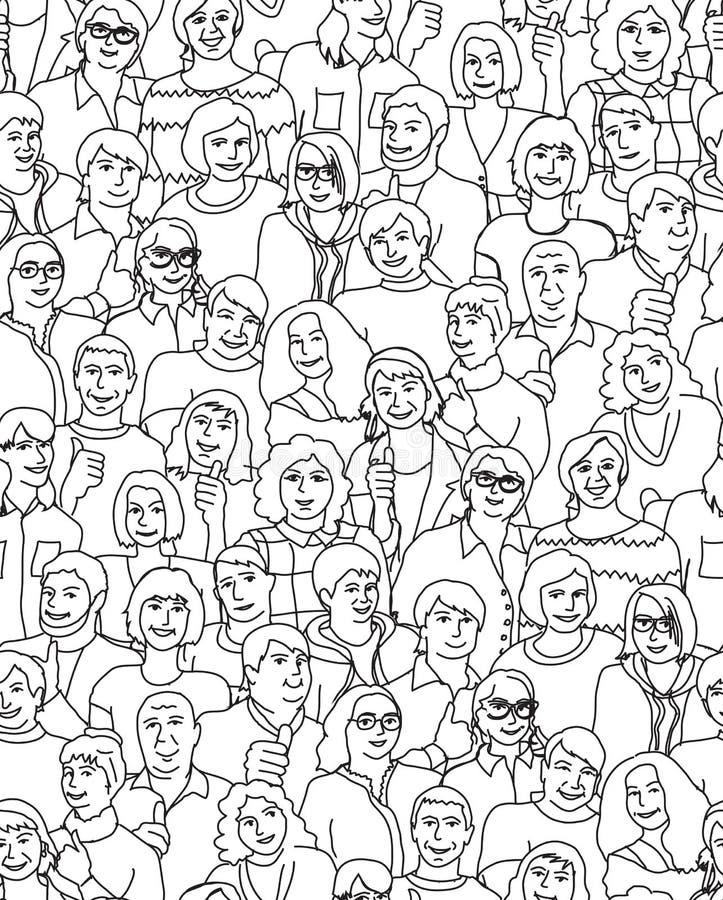 Gelukkig volwassen zwart de lijn naadloos patroon van teammensen royalty-vrije illustratie
