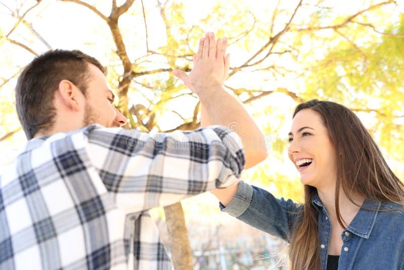 Gelukkig vrienden of paar die hoogte vijf in een park geven stock foto