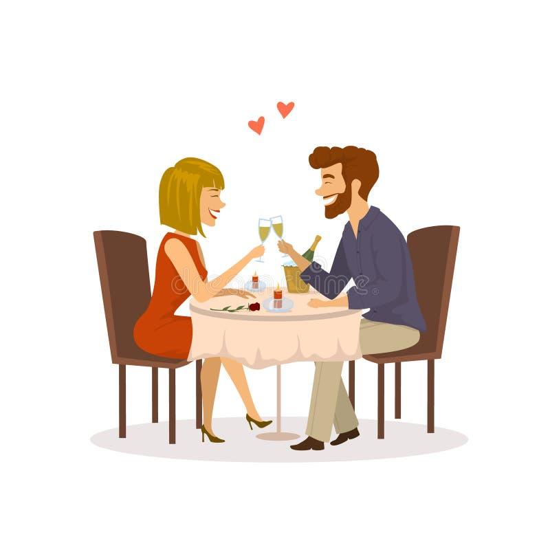 Gelukkig vrolijk paar in liefde op een romantische datum in het restaurant die diner hebben royalty-vrije illustratie