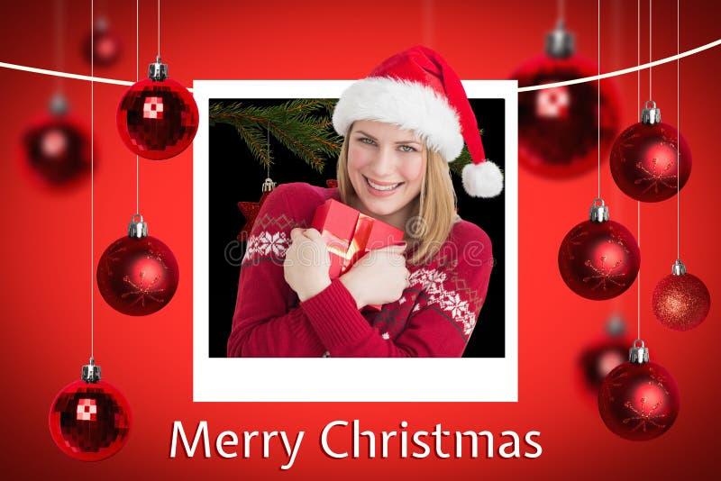 Gelukkig Vrouw en Kerstmisbericht op Rode Achtergrond Designlying Santa Sleigh Design stock foto's