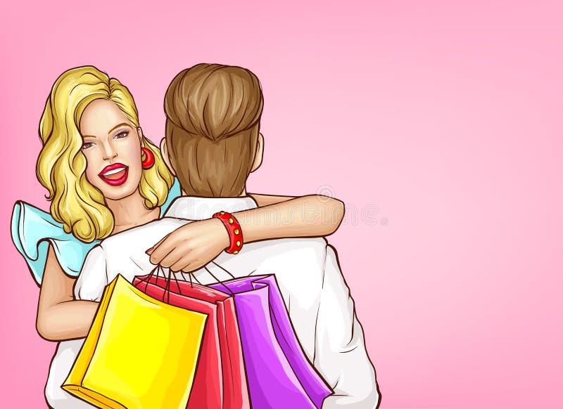 Gelukkig vrouw het winkelen pop-art vectorconcept royalty-vrije illustratie
