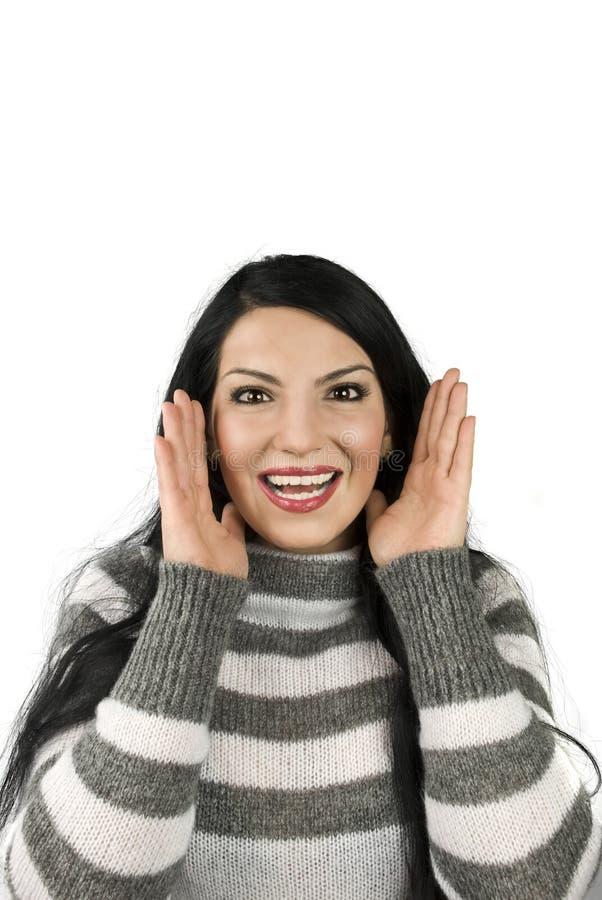 Gelukkig vrouw verrast gezicht stock afbeelding