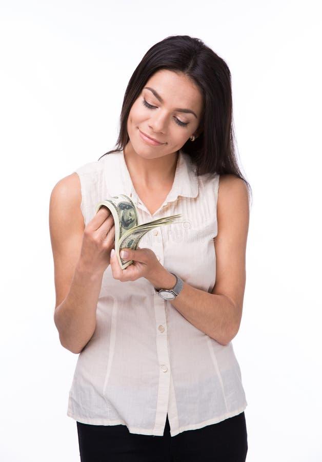 Gelukkig vrouwen tellend geld stock afbeeldingen