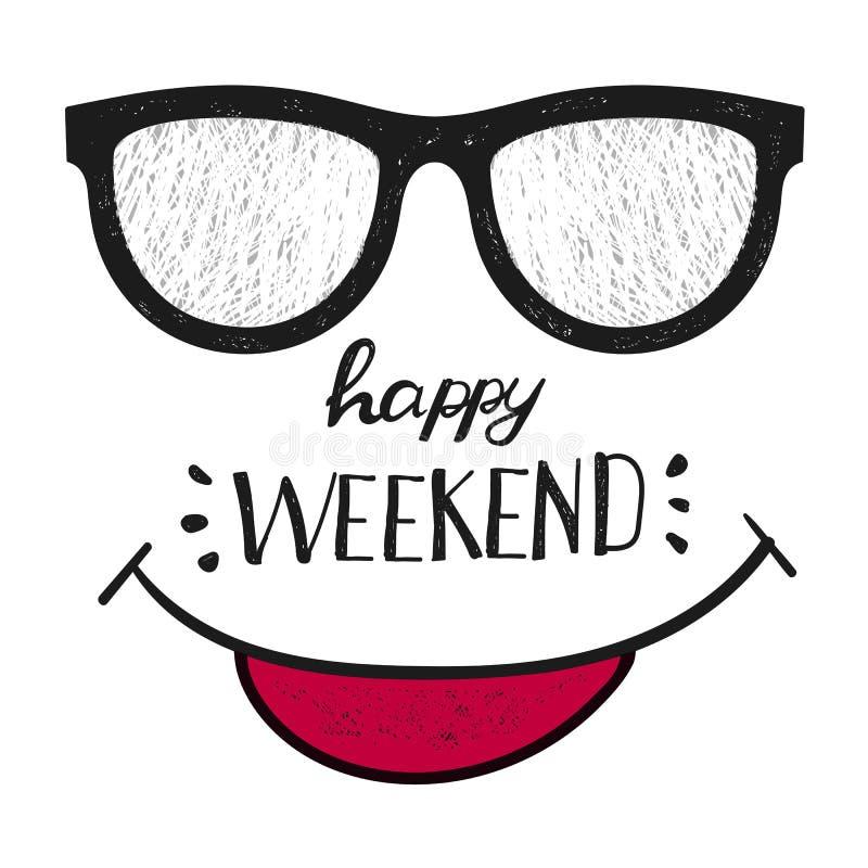 Gelukkig Weekend Positief citaat handwrittenweekend ontwerp vector illustratie