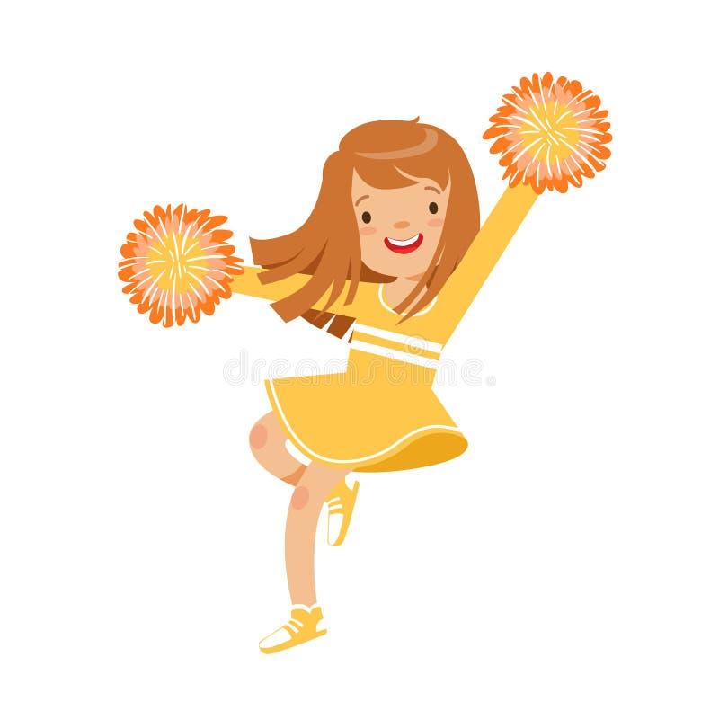 Gelukkig weinig cheerleadermeisje die met gele pompoms dansen De kleurrijke vectorillustratie van het beeldverhaalkarakter stock illustratie