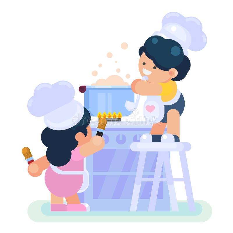 Gelukkig weinig grappige Meisje en jongenscook chef-kok die het koken in keuken bevorderen royalty-vrije illustratie