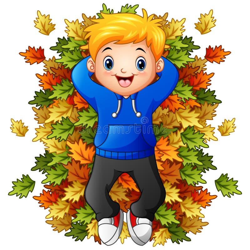 Gelukkig weinig jongen die met de herfstbladeren spelen vector illustratie