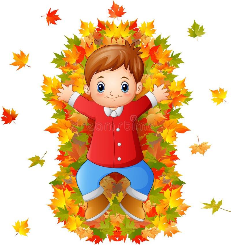 Gelukkig weinig jongen die met de herfstbladeren spelen stock illustratie