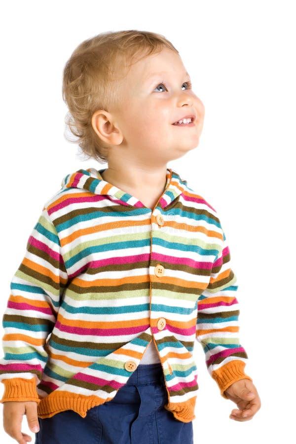 Gelukkig weinig jongen, geïsoleerde witte achtergrond royalty-vrije stock foto's