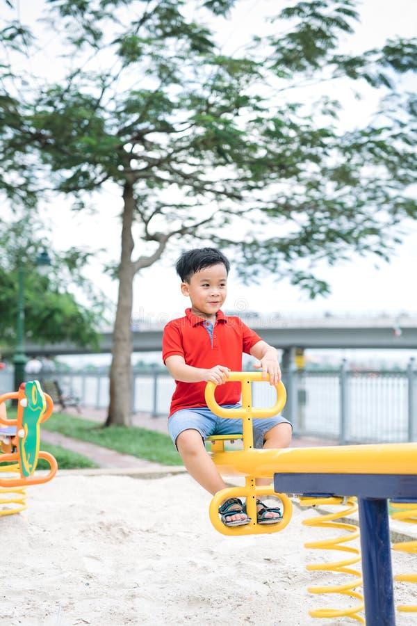 Gelukkig weinig jongen op geschommel in openlucht stock foto
