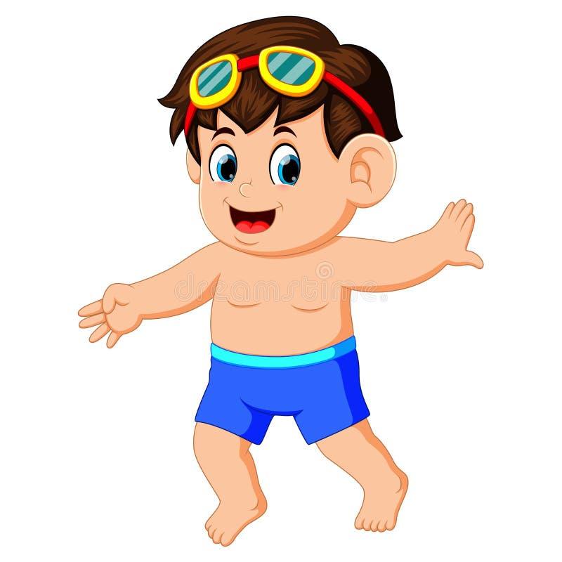 Gelukkig weinig jongen in zwempak stock illustratie