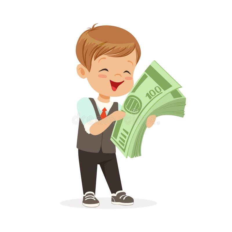 Gelukkig weinig jongenszakenman die een stapel van geld, jonge geitjesbesparingen en financiën, rijkdom houden van kinderjarenvec vector illustratie