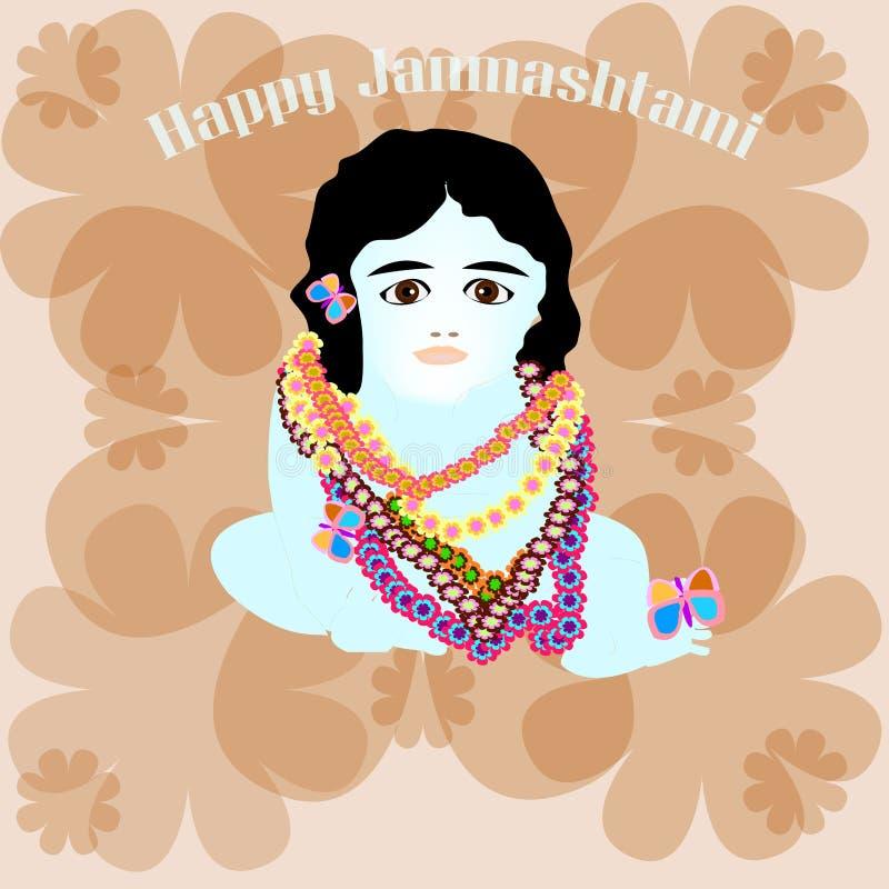 Gelukkig weinig Krishna in kleuren stock illustratie