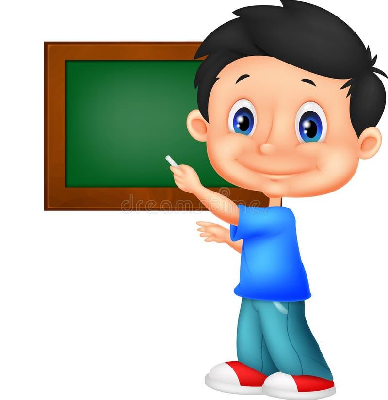 Gelukkig weinig schooljongen die op het bord schrijven vector illustratie