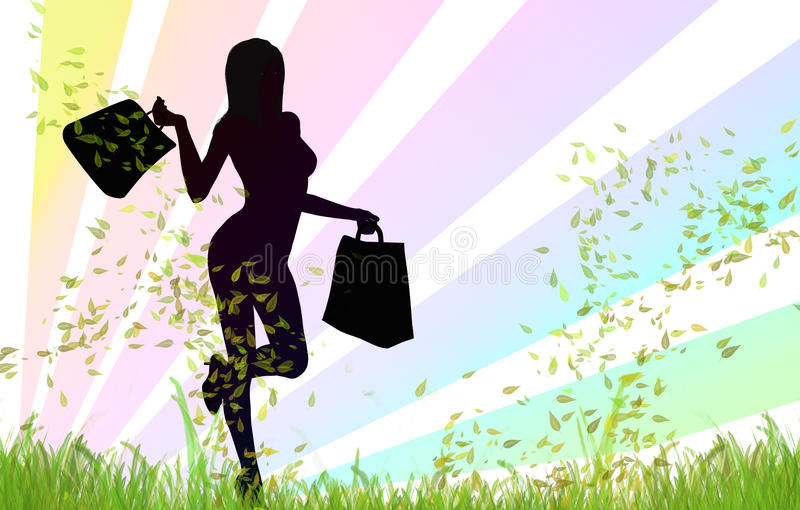 Gelukkig winkelend meisje stock illustratie