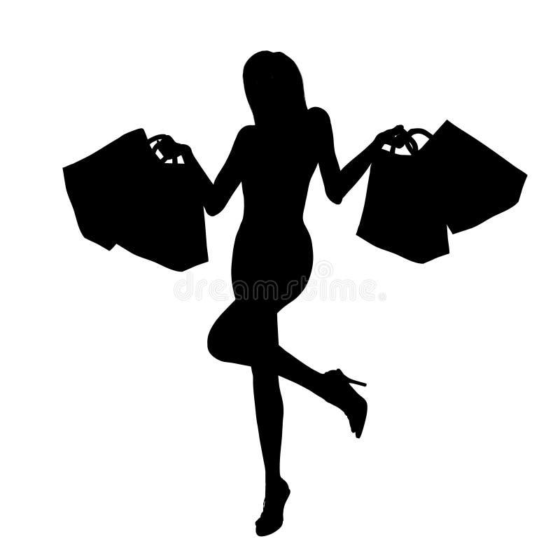 Gelukkig winkelend meisje royalty-vrije illustratie