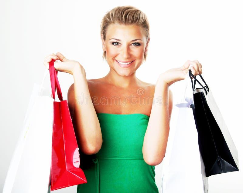 Gelukkig winkelend meisje stock fotografie