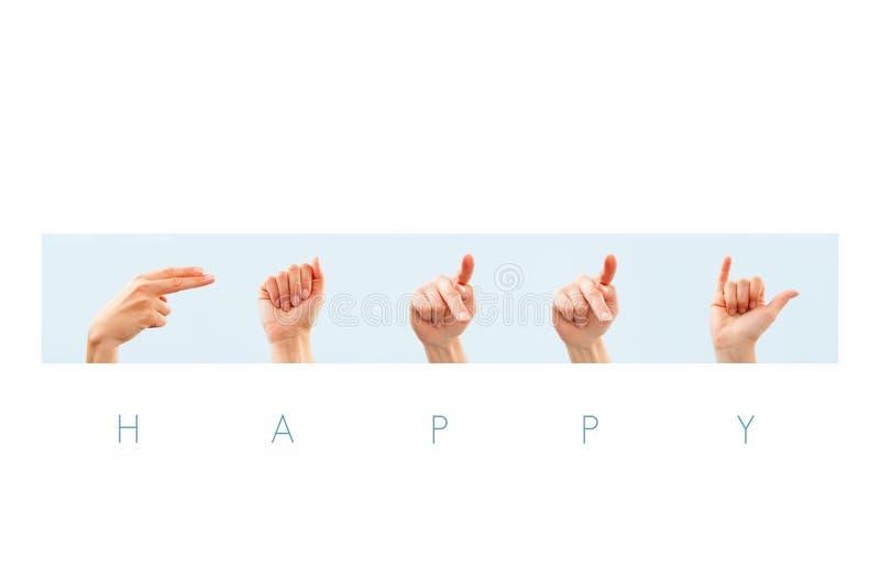 Gelukkig woord in Amerikaanse gebarentaal royalty-vrije stock afbeeldingen