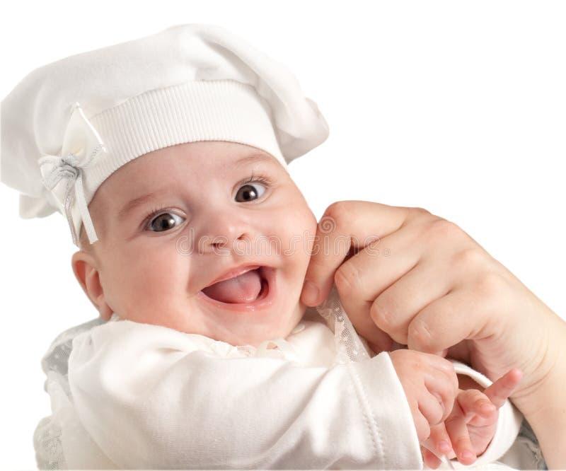 Gelukkige 3 de maanden zich kleedden baby-meisje in wit kostuum royalty-vrije stock afbeelding