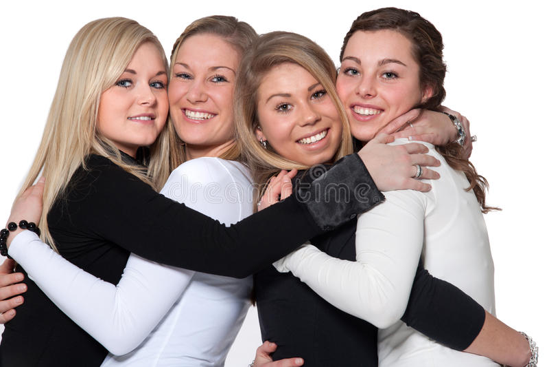 Gelukkige 4 vrouwenomhelzing royalty-vrije stock afbeelding