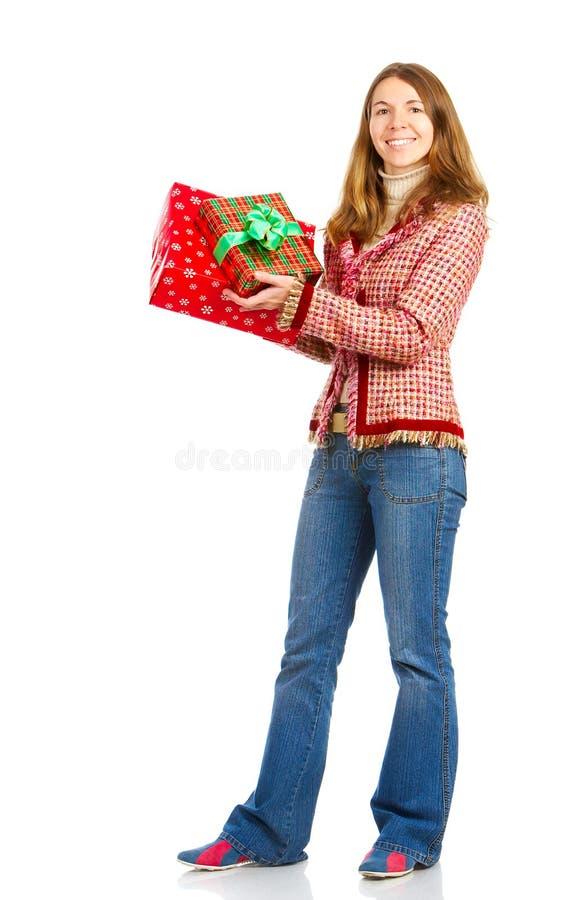 Gelukkige Aanwezige vrouw en Kerstmis royalty-vrije stock fotografie