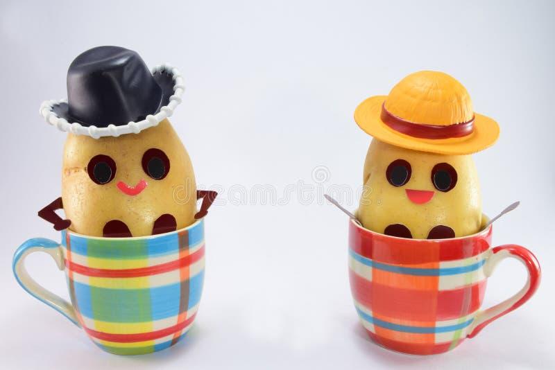 Gelukkige aardappels stock foto's