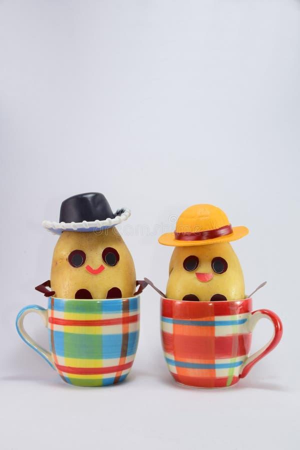 Gelukkige aardappels stock afbeelding