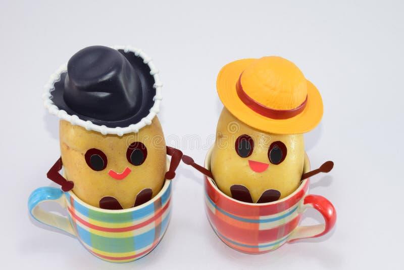 Gelukkige aardappels stock foto