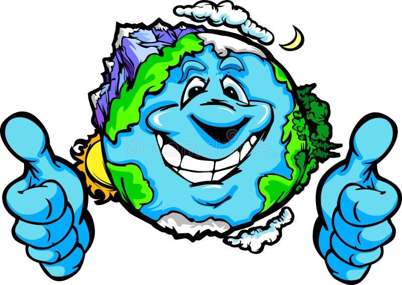 Gelukkige Aarde met Duimen op het Beeldverhaal van het Gebaar stock illustratie