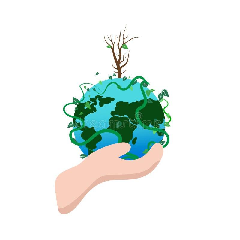 Gelukkige aardedag, de handholding van de milieunatuurbescherming abst royalty-vrije illustratie