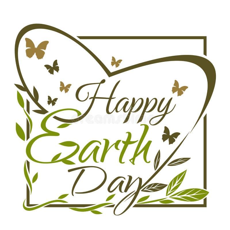 Gelukkige Aardedag Groen en gouden typografisch ontwerp royalty-vrije illustratie