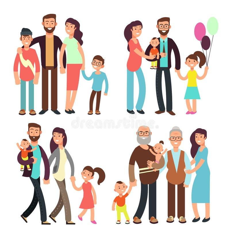Gelukkige actieve de mensen vectorkarakters van het familiebeeldverhaal stock illustratie