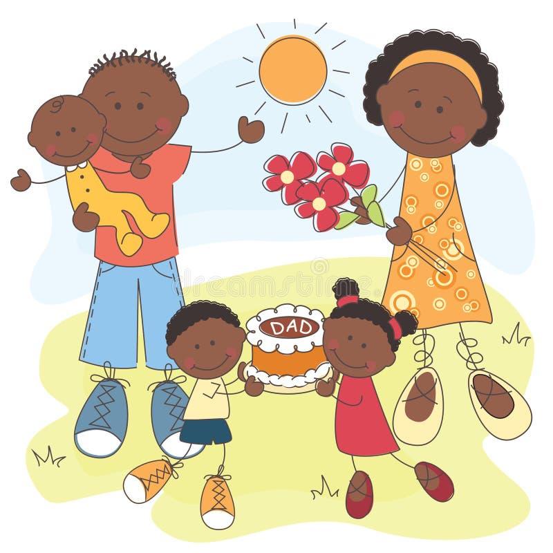 Gelukkige Afrikaanse Amerikaanse Familie vector illustratie