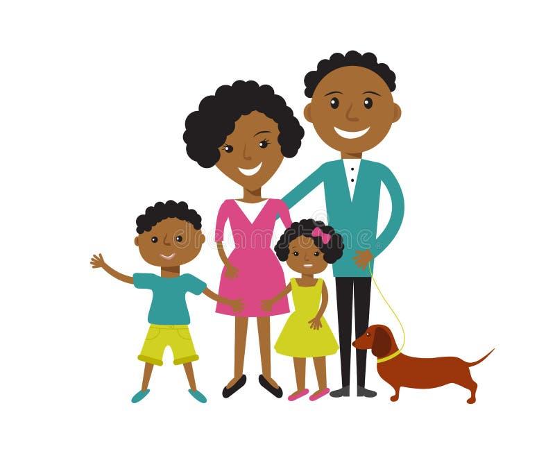 Gelukkige Afrikaanse Amerikaanse familie stock illustratie