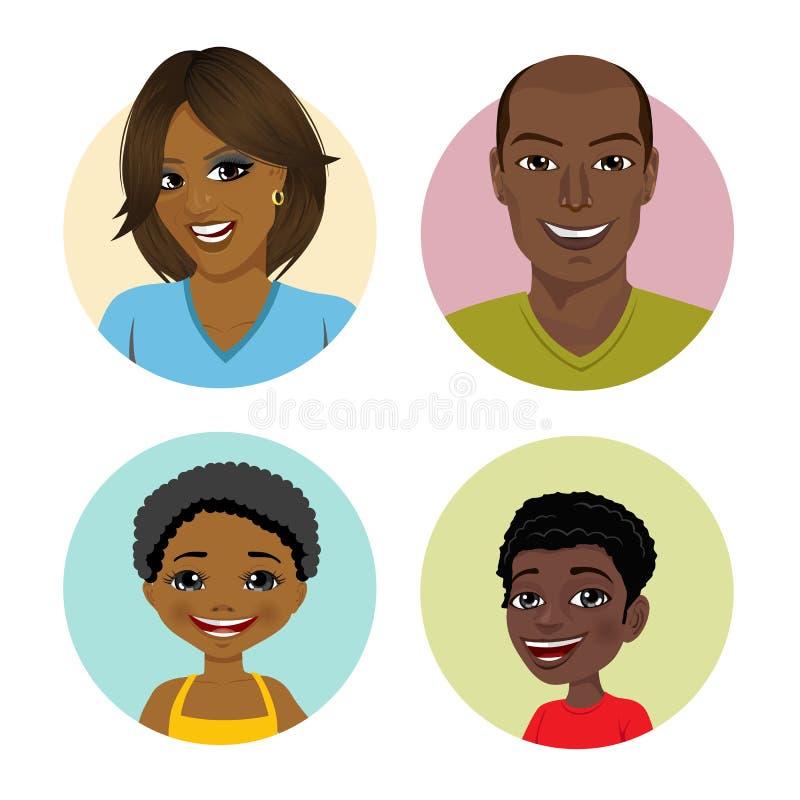 Gelukkige Afrikaanse Amerikaanse familieavatars vector illustratie