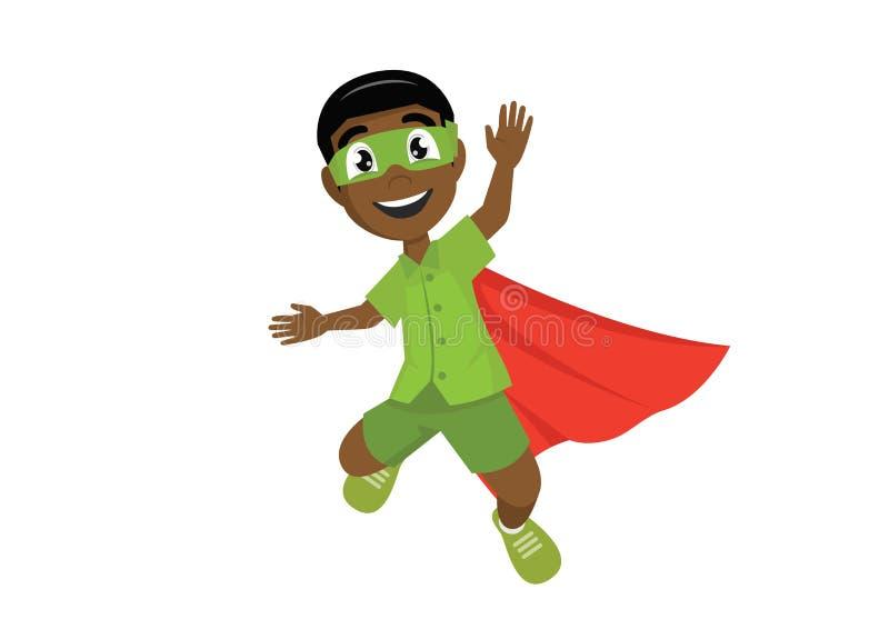 Gelukkige Afrikaanse Jongen in het super held springen royalty-vrije stock foto