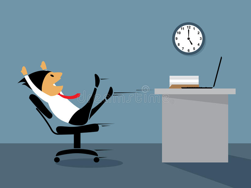Gelukkige ambtenaar op weekend. vector illustratie