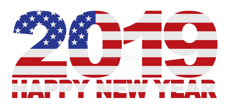 2019 gelukkige Amerikaanse de Vlag vectorillustratie van de Nieuwjaarv.s. stock illustratie