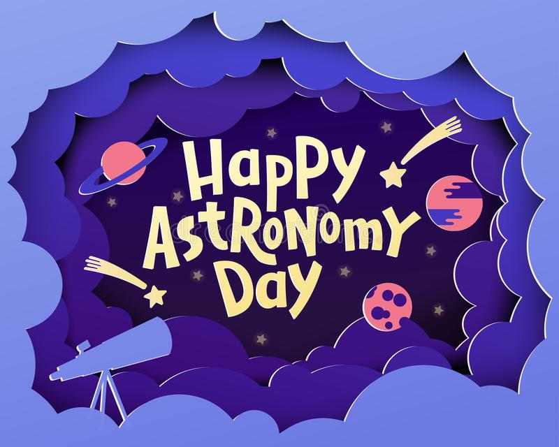 Gelukkige Astronomiedag Groetkaart met het van letters voorzien Gelukkige Astronom stock foto's