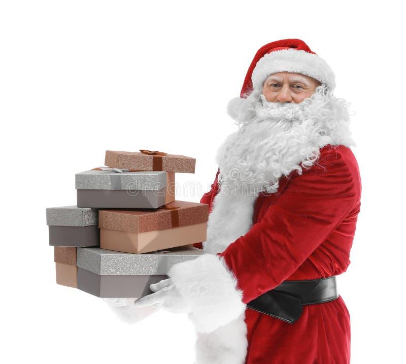 Download Gelukkige Authentieke Santa Claus Die Een Stapel Van Giftdozen Houden Stock Afbeelding - Afbeelding bestaande uit stapel, gift: 107703135