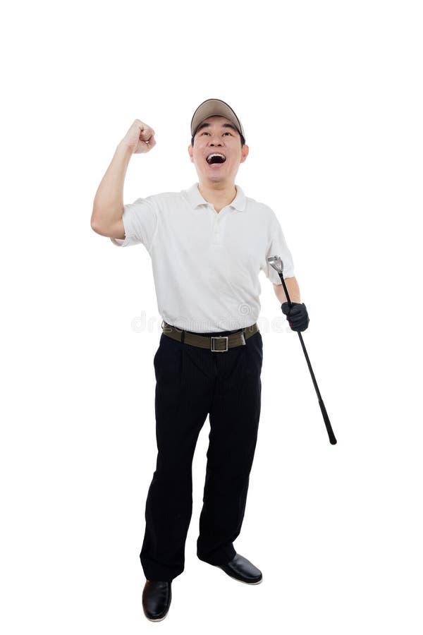 Gelukkige Aziatische Chinese Mannelijke Golfspeler die overwinningsgebaar tonen stock afbeeldingen