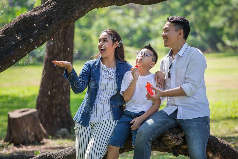 gelukkige Aziatische Familie, ouders en hun kinderen die zeepbels in park samen blazen vader, moeder, zoonszitting op tak van royalty-vrije stock afbeelding