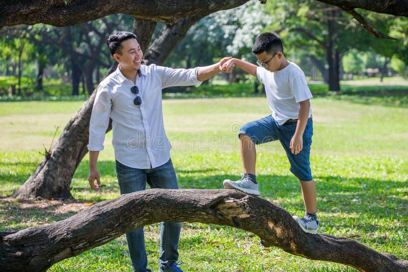 gelukkige Aziatische Familie, ouders en hun kinderen in park samen vader ondersteunende zoon die op tak van grote boom lopen die  stock afbeelding
