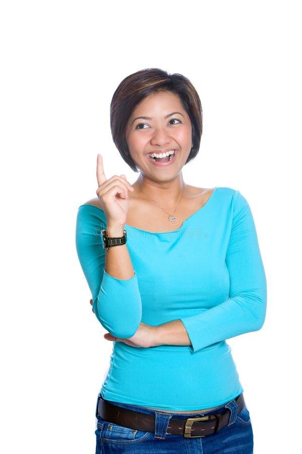 Gelukkige Aziatische vrouw met een briljant idee stock afbeeldingen