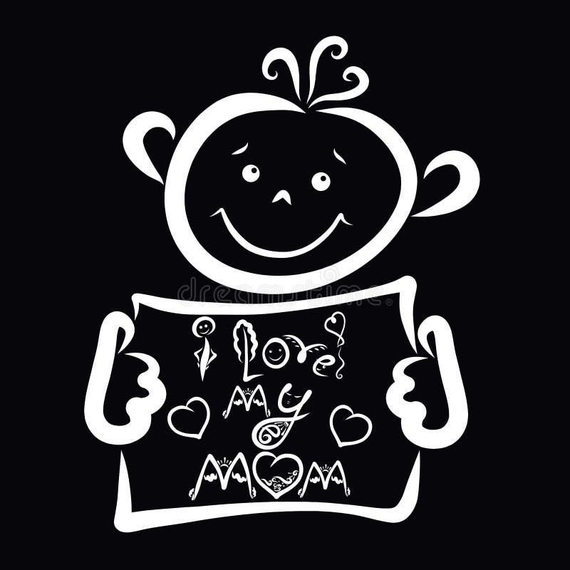 Gelukkige baby op een zwarte achtergrond, de inschrijving met een beeld, houd ik van mijn mamma vector illustratie