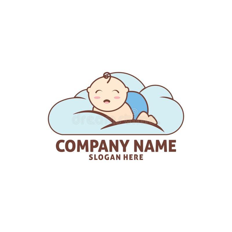 gelukkige babyslaap in het ontwerp van het het pictogramembleem van de wolkenwinkel royalty-vrije illustratie