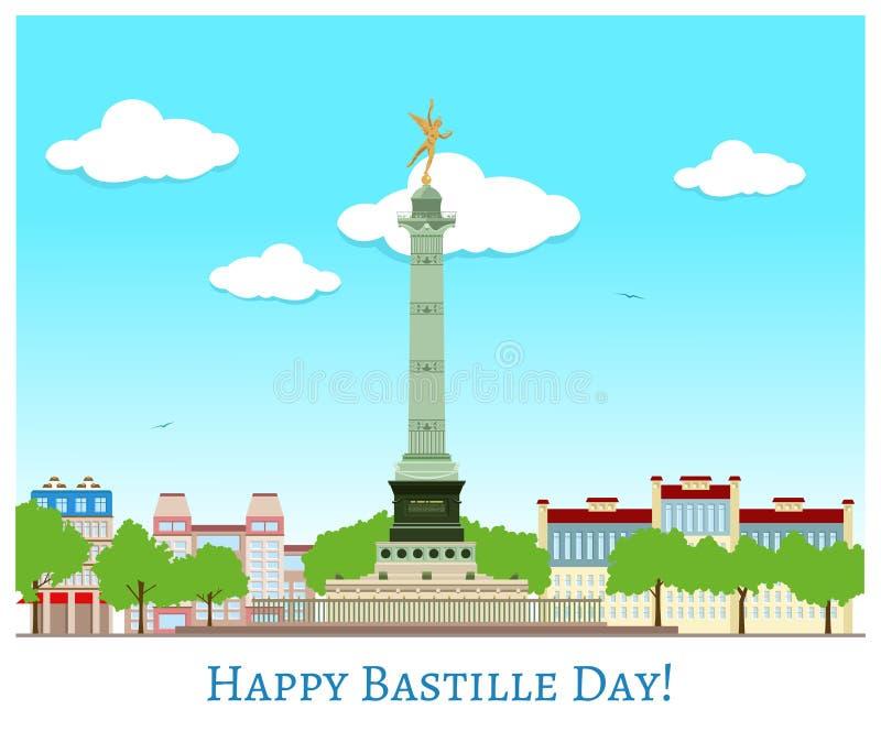 Gelukkige Bastille-dag vector illustratie