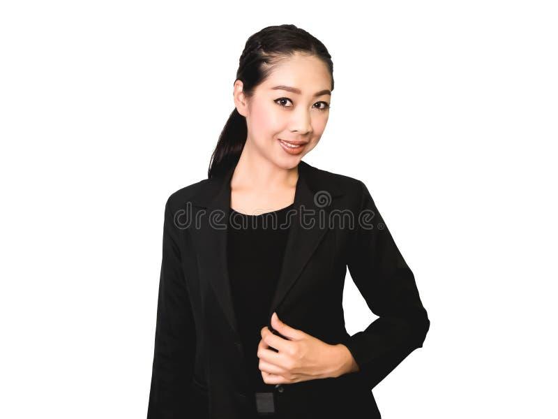 Gelukkige Bedrijfs Aziatische vrouw in zwart kostuum stock afbeeldingen
